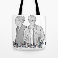 larry stylinson Tote Bags featuring Larry Stylinson - black and white by Feds