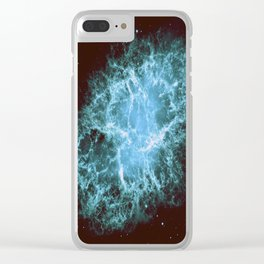 Crab Nebula Freshwater Blue teal Clear iPhone Case