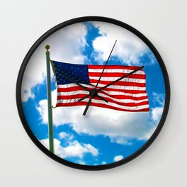 American Flag in Big Blue sky Wall Clock
