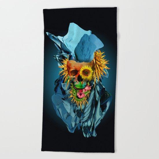 Floral Skull Vivid IV Beach Towel