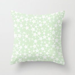 Magical Mint Green and White Stars Pattern Throw Pillow