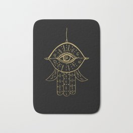 Hamsa Hand Gold on Black #1 #drawing #decor #art #society6 Bath Mat