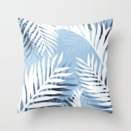 Tropical bliss - chambray blue Throw Pillow