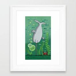 Narwhale Handstand Framed Art Print