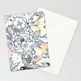 Modern geometric shapes and floral strokes design Stationery Cards