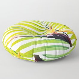 Bird of Paradise and Palm Frond Floor Pillow