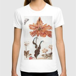 A Parrot Tulip Auriculas & Red Currants with a Magpie Moth Caterpillar Pupa by Maria Sibylla Merian T-shirt