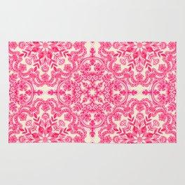 Hot Pink & Soft Cream Folk Art Pattern Rug