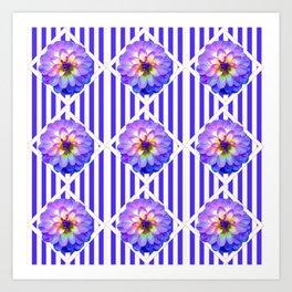 STRIPED PURPLE PATTERNED LILAC PURPLE-WHITE DAHLIA GARDEN  FLOWERS GARDEN ART Art Print