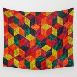 Colorful Isometric Cubes IV Wall Tapestry