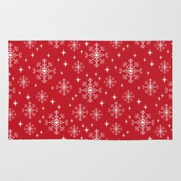 Snowflakes winter christmas minimal holiday red and white decor gifts Rug