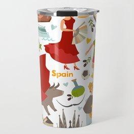 Spain, touristic symbols vector. Colorfull hand drawn illustration Travel Mug