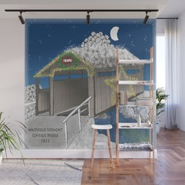 Vermont Covered Bridge at Christmas - Zentangle Illustration Wall Mural
