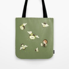 Girl Watching Time Flies Tote Bag