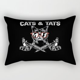 Cats And Tats Inking Tattoo Lover Tattooing Kitty Rectangular Pillow