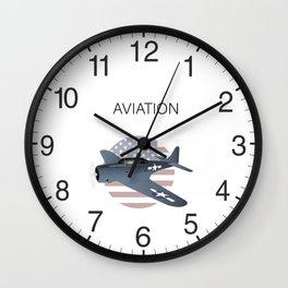 WW2 Douglas SBD-6 Dauntless Airplane with US Flag Wall Clock