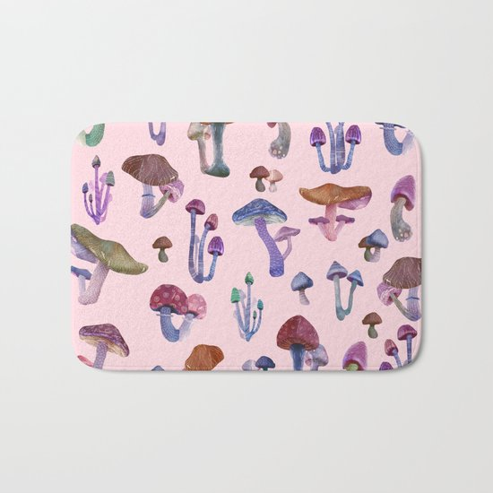 Mushrooms Pink!! Bath Mat