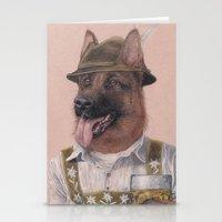 german shepherd Stationery Cards featuring German Shepherd by Rachel Waterman