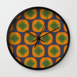 Persimmon Mandala Pattern Wall Clock