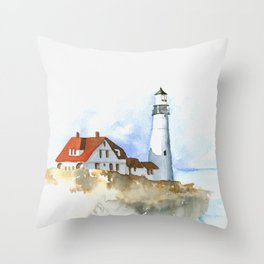 Lighthouse in Morning Light Throw Pillow