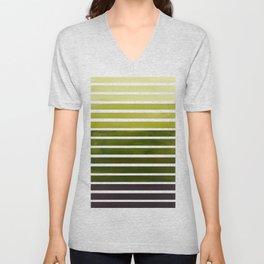 Watercolor Gouache Mid Century Modern Minimalist Colorful Olive Green Stripes Unisex V-Neck