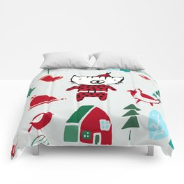Cute Christmas cat gray Comforters