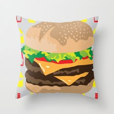 Double Cheeseburger Throw Pillow