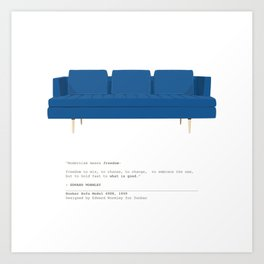 Mid-Century Sofa in Blue Velvet Art Print