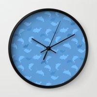 dolphins Wall Clocks featuring Dolphins by Anna Alekseeva kostolom3000