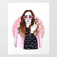 kenzo Art Prints featuring Kenzo Eye Girl by Natalia Madej