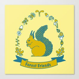 Forest Friends Yellow Canvas Print