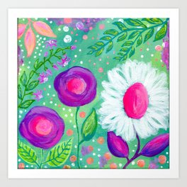 White Flowers, Purple Flowers, Floral Painting for Girl, Nursery Decor, Green, Blue, Coral Art Art Print