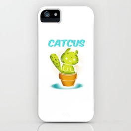 Catcus Funny Cat And Cactus Plants Planting Animals Kittens Kitty Cacti Pet Lovers Gift iPhone Case