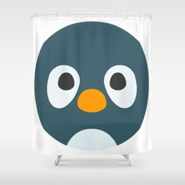 Cartoon Penguin Face Emote Shower Curtain
