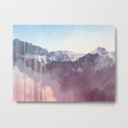 Glitched Mountains Metal Print