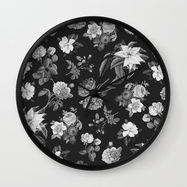 Vintage flowers on black Wall Clock