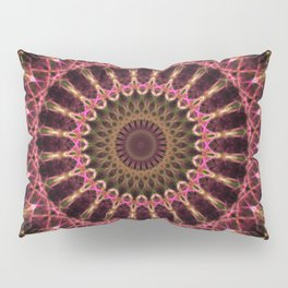 Mandala in golden and red tones Pillow Sham