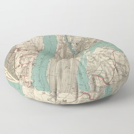 old vintage map of new york Floor Pillow