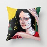 dia de los muertos Throw Pillows featuring Dia de los Muertos by whiterabbitart