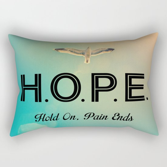 Always Have Hope (Seagull Flying in Teal Sky) Rectangular Pillow