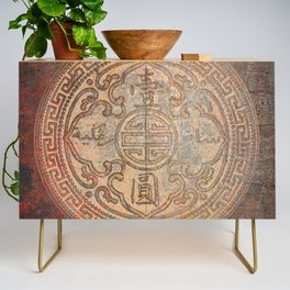 Antic Chinese Coin on Distressed Metallic Background Credenza