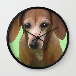 Molly Dolly Dachshund - Green Wall Clock