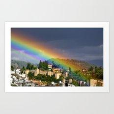 Rainbow over Dar alHorra Palace at Granada. Spain Art Print