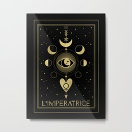 L' Imperatrice or The Empress Tarot Gold Metal Print
