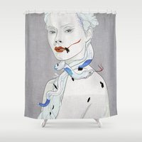 snake Shower Curtains featuring SNAKE by SEVENTRAPS