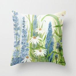 Watercolor Botanical Garden Flower Wildflower Blue Flower Garden Throw Pillow