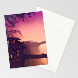 Romantic Couple On Bridge In Idyllic Little Town Above Valley Anime Purple Shade Ultra HD Stationery Cards
