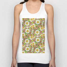 Christmas Daisy and Berries Pattern Unisex Tank Top