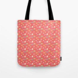 Colorful bunnies on salmon/pink Tote Bag