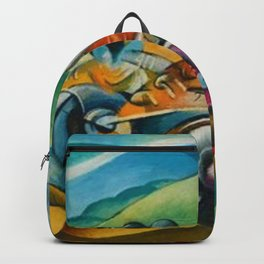 Italian Grand Prix Motorcycle Racing in the Alps color landscape painting by Ugo Giannattasio Backpack